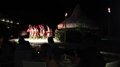 Polynesian cultural music and dance performance on Bora Bora Island, French Poly Stock Footage