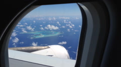 Airplane flying over South Pacific Ocean in French Polynesia. Stock Footage