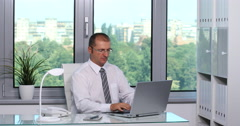 Chief Executive Officer Using Computer Device Writing Finances Data Office Desk Stock Footage