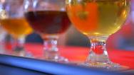 4K Hand Picks Up Beer Taster Glass, Macro Shot of Flight of Craft Pub Beer Stock Footage