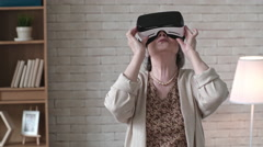 Happy Old Woman in VR Goggles Stock Footage