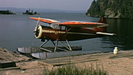 Canada 1970: seaplane parked on the water Stock Footage