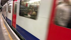 LONDON – Moving subway train. London subway is a very efficient Stock Footage