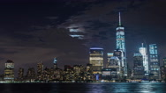 Lower Manhattan and Freedom Tower and Moon New York City Night Timelapse Stock Footage