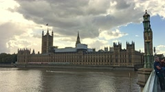 LONDON –  People on Westminster Bridge. London attracts 30 Stock Footage