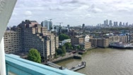 London Canary Wharf and city southern side, aerial view from Tower Bridge Stock Footage