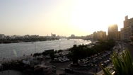 Dubai Creek panorama at sunny evening, view from Twin Tower building terrace Stock Footage