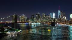 Brooklyn Bridge and Manhattan Skyline New York City Night Timelapse Stock Footage