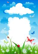 Cloudy house. Environmental background. Stock Illustration