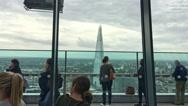LONDON –Tourists watch London skyline from Sky Garden Building. Stock Footage