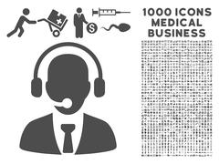 Call Center Icon with 1000 Medical Business Symbols Stock Illustration