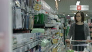 Lady in a supermarket Stock Footage