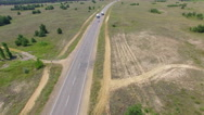 Truck driving on the highway. aerial shot Stock Footage