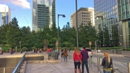 LONDON –People walk in Canary Wharf. Canary Wharf is the Stock Footage
