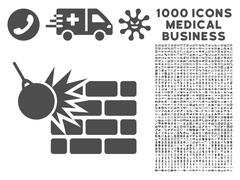 Destruction Icon with 1000 Medical Business Pictograms Stock Illustration