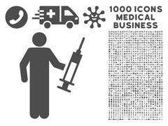 Drug Dealer Icon with 1000 Medical Business Pictograms Stock Illustration