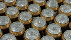 A lot of beer cans Stock Footage