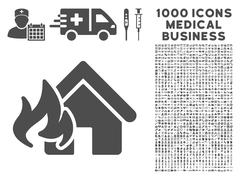 Fire Damage Icon with 1000 Medical Business Pictograms Stock Illustration