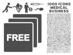 Free Icon with 1000 Medical Business Pictograms Stock Illustration
