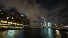 Lower Manhattan New York City view from Jersey City Wide Night Timelapse Stock Footage
