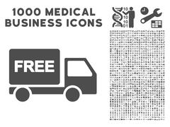 Free Delivery Icon with 1000 Medical Business Pictograms Stock Illustration
