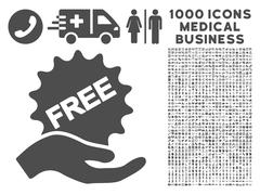 Free Present Icon with 1000 Medical Business Symbols Stock Illustration