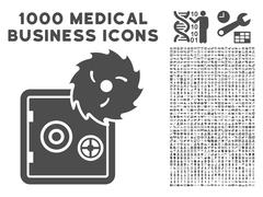 Hacking Theft Icon with 1000 Medical Business Symbols Stock Illustration