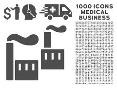 Industry Icon with 1000 Medical Business Symbols Stock Illustration