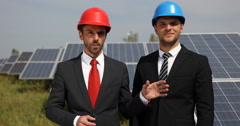 Master Engineer People Looking Camera Talking Serious Solarpanels Source Energy Stock Footage