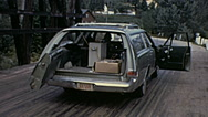 Canada 1970: car loaded with equipment to test radioactivity Stock Footage