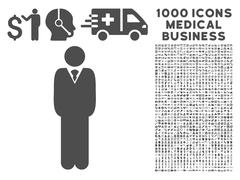 Manager Icon with 1000 Medical Business Pictograms Stock Illustration