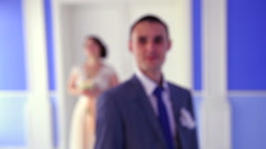 The groom on the background of the bride Stock Footage