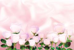 Pale pink roses on the background of light pink satin. Stock Illustration