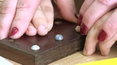 Teather Help Child Learns Braille Stock Footage