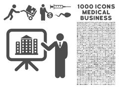 Realty Presention Icon with 1000 Medical Business Symbols Stock Illustration
