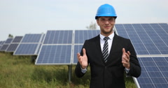 Happy Successful Businessman Speech Posing Optimistic Ok Sign Solarpanels Source Stock Footage