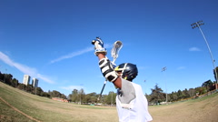 A lacrosse player celebrating a good play. Stock Footage