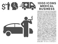 Taxi Driver Icon with 1000 Medical Business Pictograms Stock Illustration