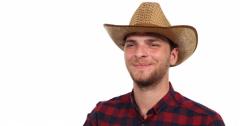 Indoor Scene Optimistic Gardener Farmer Man Looking Interview and Posing Smiling Stock Footage