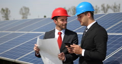 Successful Business Men Handshake Browsing Hold Plan Solarpanels Source Teamwork Stock Footage