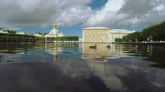 Kolonistky park and pond in Peterhof Stock Footage
