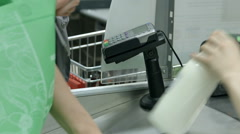 Scanning products in a store Stock Footage