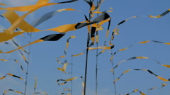 Set of Bright Yellow Black Ribbon Flags Waving in the Wind, Set Against a Blue Stock Footage