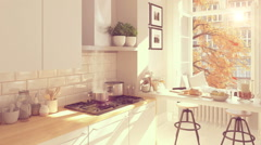 Cinemagraph of a nordic kitchen . 3D rendering. autumn concept. hd. loop Stock Footage