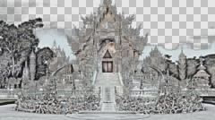 Wat Rong Khun. Buddhist temple. White Temple. Thailand. Chiang Rai. Color pencil Stock Footage