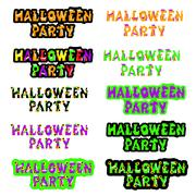 Halloween sign holiday greeting and original text. Vector illustration Stock Illustration