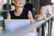 Girl in glasses resting outdoors Stock Photos