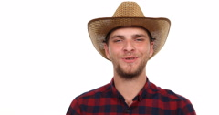 Happy Farmer Man Smile Hold Coconut Talking Presentation and Show Thumb Up Sign Stock Footage