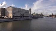 Distant city marathon runners in Moscow. 4K shot Stock Footage