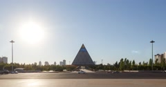 Palace of Peace and Reconciliation at sunset. Astana, Kazakhstan. Time Lapse Stock Footage